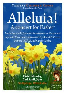 Poster for Caritas Chamber Choir's Easter concert